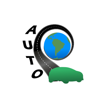 drive through: Road with the globe ang green car
