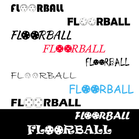 Floorball text for the team and the cup on a white background