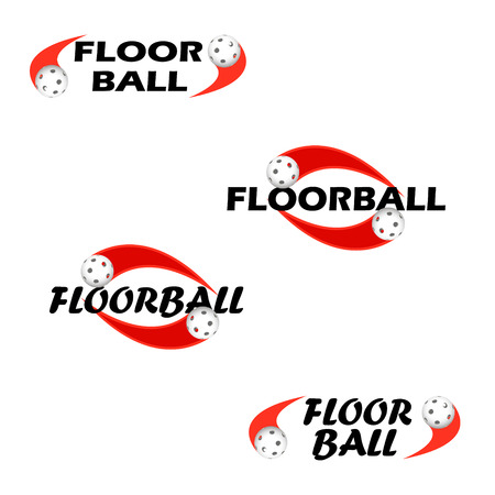 Floorball text for logo the team and the cup on a white background