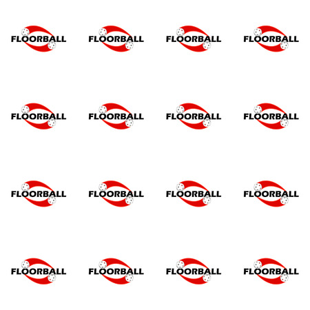 The seamless pattern of floorball on a white background Illustration