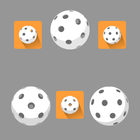 floorball: Flat floorball ball for logo the team and the cup on a white background