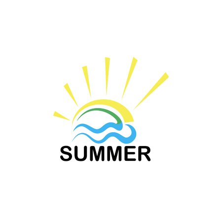 Agencia de viajes símbolo concepto creativo. logotipo de verano en un fondo blanco