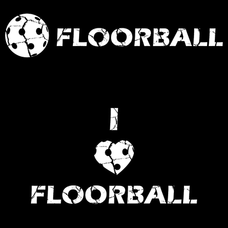 floorball: Floorball text for logo the team and the cup on a white background