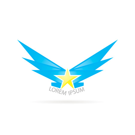 travel star: logo star with wings on a white background