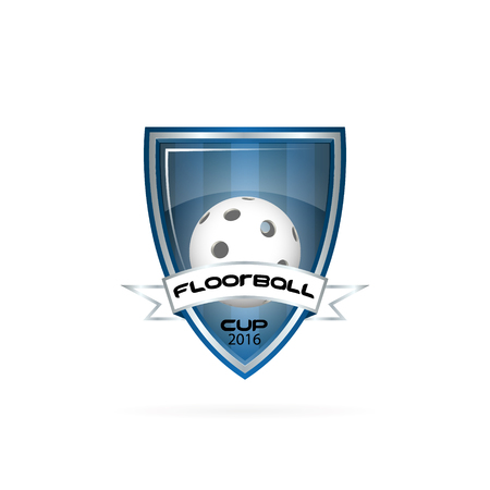 floorball: Floorball logo for the team and the cup on a white background