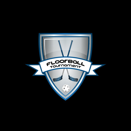 floorball: Floorball logo for the team and the cup on a black background