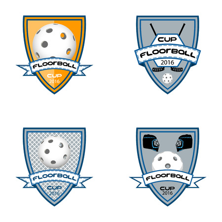 Set floorball logo for the team and the cup on a white background Vectores