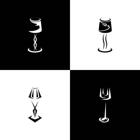set of silhouettes lamp and sconce. vector illustration