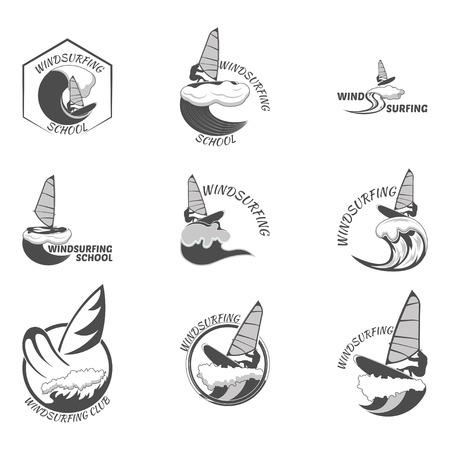 windsurf: icono de windsurf. internado de verano en las ondas Set.