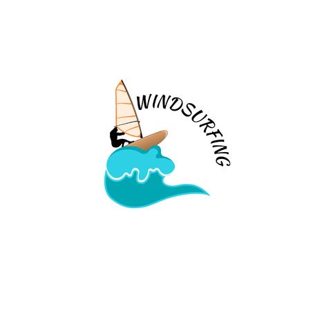 windsurfing: windsurf aislado sobre fondo blanco. Vectores