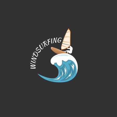 windsurf: windsurf aislado sobre fondo blanco. Vectores