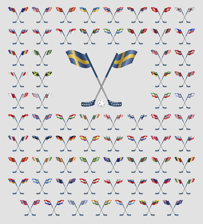 floorball: Floorball country flags on a white background Illustration