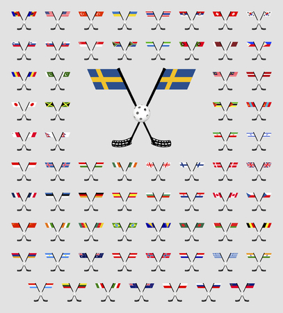 floorball: Floorball logo country flags on a white background Illustration