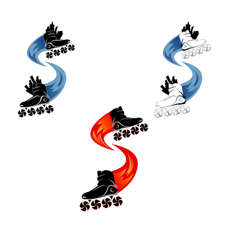 patinaje sobre ruedas. Ilustración de vector de patines