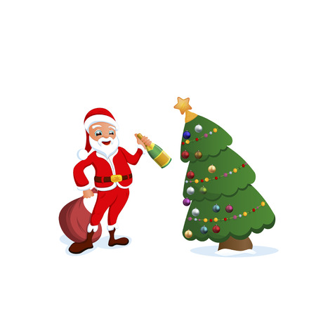 oldman: Greeting Cards Happy New Year and Merry Christmas with Santa, vector illustration Illustration