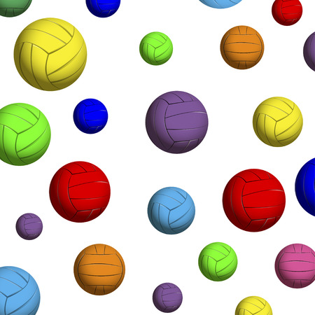 The pattern of color volleyball balls on a white background