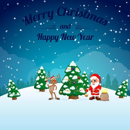 oldman: funny happy cartoon Christmas Reindeer with Santa Claus illustration