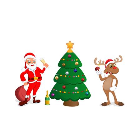 funny happy cartoon Christmas Reindeer with Santa Claus illustration