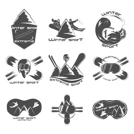 Elementos del modelo del diseño del logotipo del deporte de invierno Conjunto