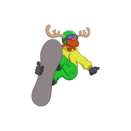 funny reindeer on a snowboard vector illustration