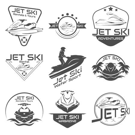 Set Logo jet ski, scooter on a white background