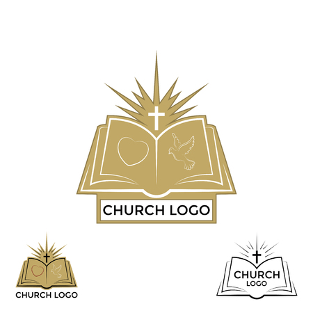 Church logo, cross and open bible Illustration