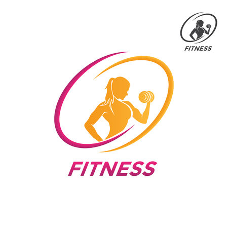 Emblemas de fitness, design de logotipo em um fundo branco