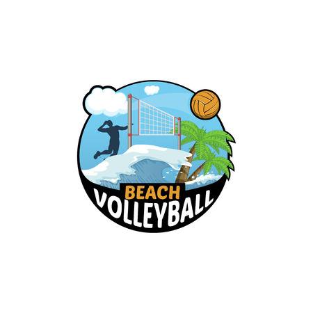 beach sunset: Beach Volleyball logo for the team and the cup