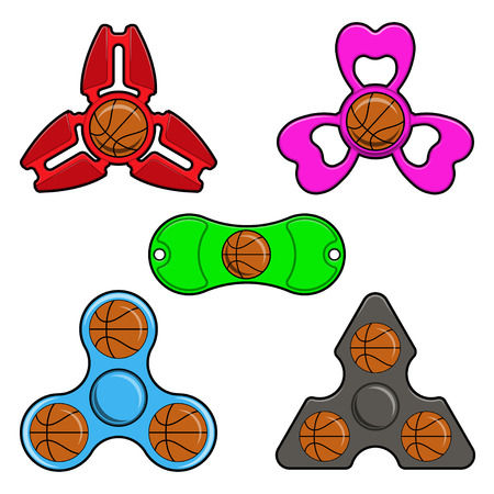 Set Hand spinner toys with basketball ball, flat vector icons