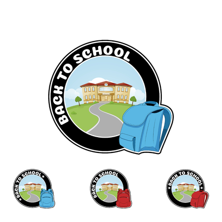 Set Logo with backpack and text Welcome back to school. Illustration