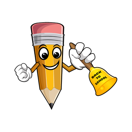Yellow cartoon pencil with bell and text back to school. vector illustration isolated on white background. Funny pencil with big bell.