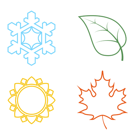 Four colored icons with seasons. Four nature seasons icon isolated on white background.