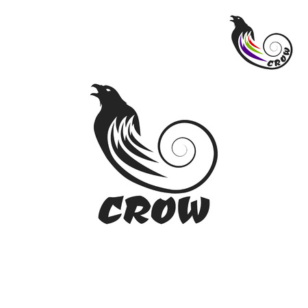 Black crow logo on a white background. Raven isolated.