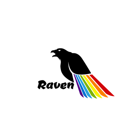 Logo black raven with colored wing Illustration