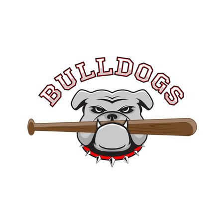 Logo bulldog con un bate de béisbol en los dientes sobre un fondo blanco