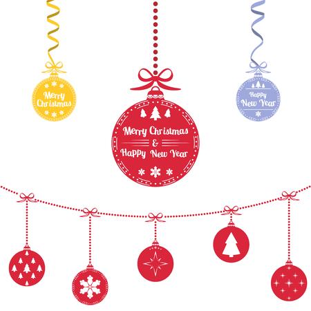 Colored christmas balls. Christmas ornaments hanging rope. Vector Illustration Illustration