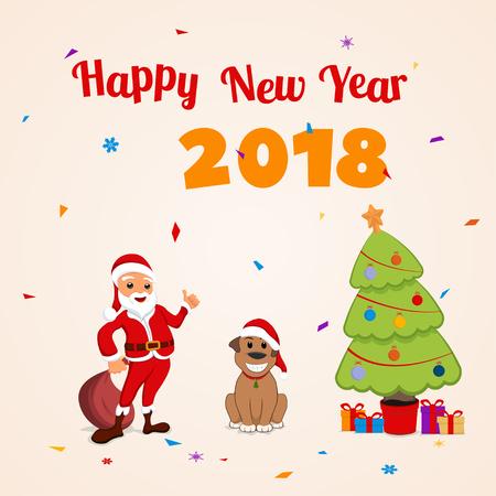 Santa Claus and funny dog. New year illustration.