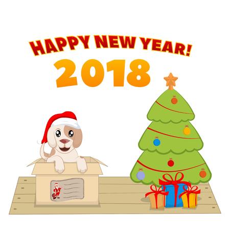 クリスマス ツリーの近くのボックスに子犬。