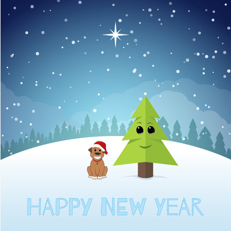 Funny Puppy near the Christmas tree. New year illustration. vector illustration
