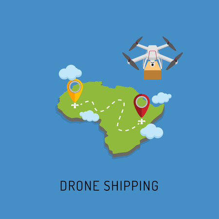 Dron delivers the parcel to the designated place. Flat design. Vector Illustration Illustration