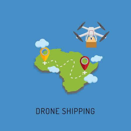 Dron delivers the parcel to the designated place. Flat design. Vector Illustration Illustration