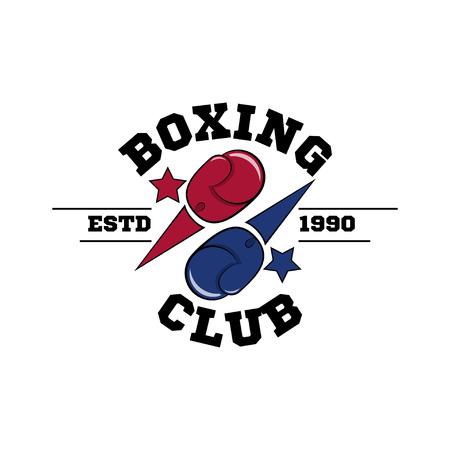 Fighting boxing club logo, flying blue and red gloves Illustration