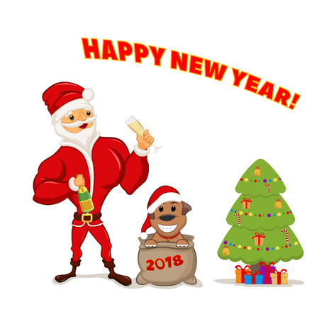 A funny Santa is holding a glass of champagne and a puppy sitting in a sack. Vector Illustration
