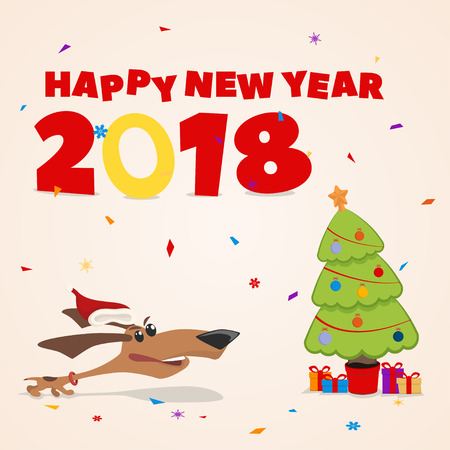 New Year s card, puppy runs to the Christmas tree with gifts.