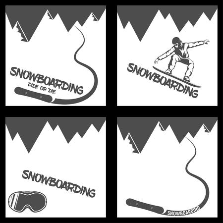 Set Snowboarding background. mountains and descending board vector illustration Illustration