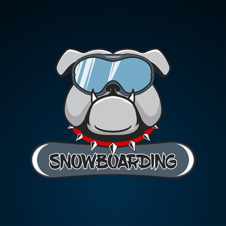 Snowboarding logo bulldog in the snowboarding mask. vector illustration