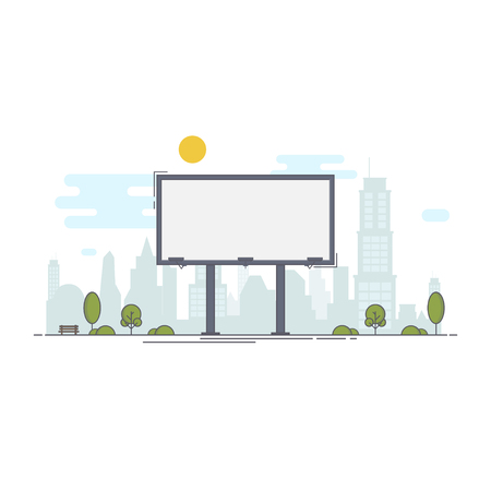 A large empty city billboard for your advertising and then the city. Flat style vector illustration