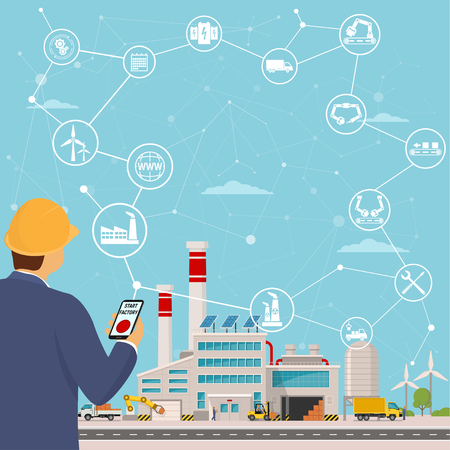 smart factory and around it icons Engineer starting a smart plant. Smart factory or industrial internet of things. Background vector illustration