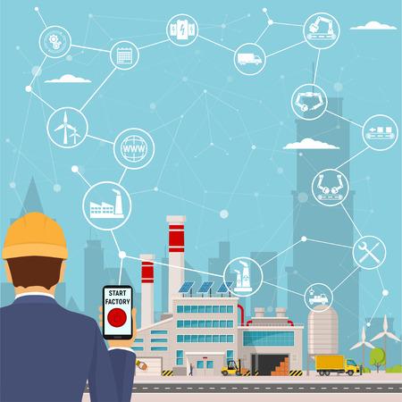 inteligentna fabryka i wokół niej ikony Inżynier uruchamia inteligentny zakład. Inteligentna fabryka lub przemysłowy internet rzeczy. ilustracji wektorowych