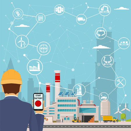 smart factory and around it icons Engineer starting a smart plant. Smart factory or industrial internet of things. vector illustration Çizim
